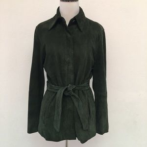 MaxMara Suede Leather Trench Jacket Size 4 Green